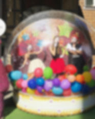 Photo zone, Photo booth, Snow globe, Giant snow ball, photo, clowns, baloons, Happy