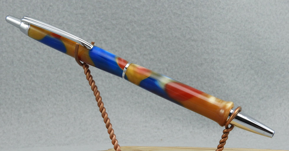 Chatoyant Blue, Gold and Red & Chrome Click Ballpoint