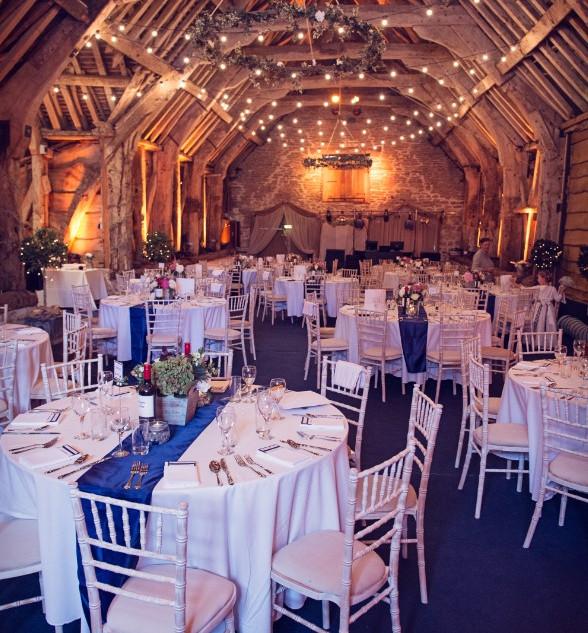 Stockbridge Barn dressed for a wedding reception