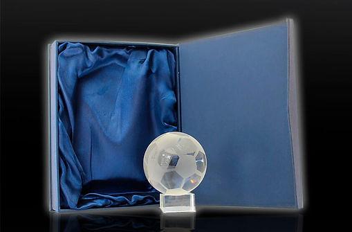 Este versátil y personalizado premio toma una esfera ordinaria y la convierte en un extraordinario balón con motivos y casquetes de fútbol. Con tamaños de 6 y 8 cm de diámetro, la Oda al Gol es ideal para otorgar reconocimiento a jugadores y equipos, verdaderamente fanáticos por este deporte.