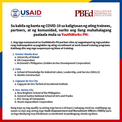 YouthWorks PH Statement on COVID-19