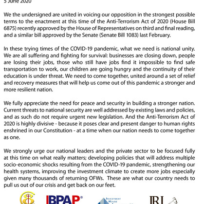 Joint Statement on the Anti-Terrorism Act of 2020