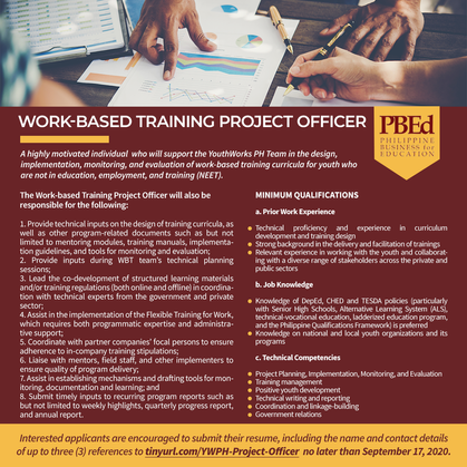 Call for Applications for WBT Officer