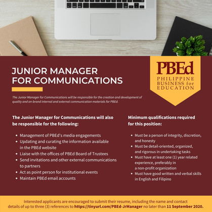 Call for Applications for Junior Manager for Communications