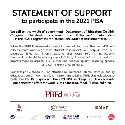 Statement of Support to Participate in the 2021 PISA