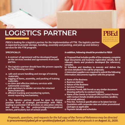 Call for Logistics Partners