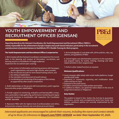 Call for Applications for Youth Empowerment and Recruitment Officer (GenSan)