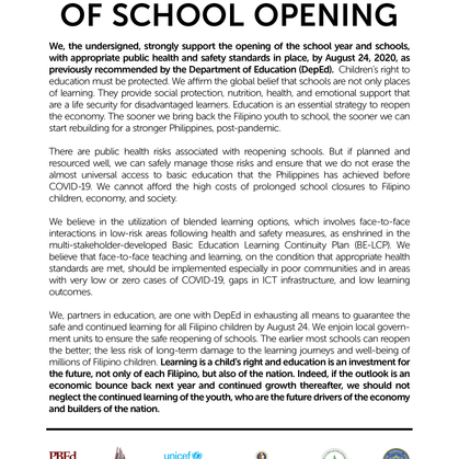 Statement in Support of School Opening