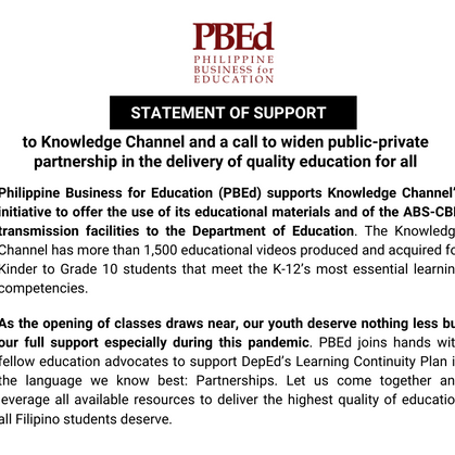 Statement of support to Knowledge Channel and a call to widen public-private partnership in the deli