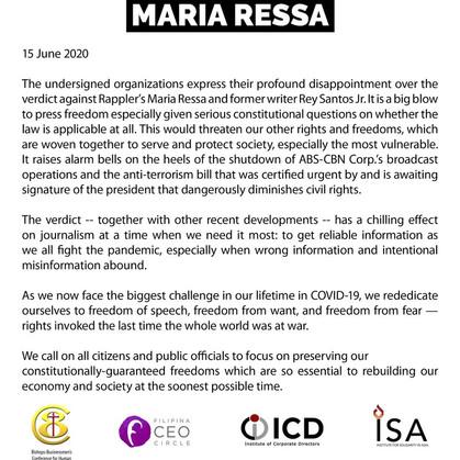 Statement on Cyberlibel verdict vs. Maria Ressa