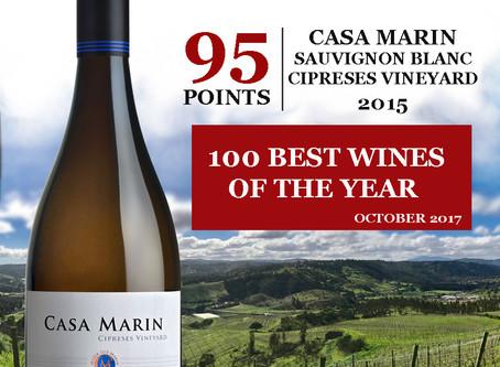 Casa Marin Sauvignon Blanc 2015 se le otorgaron 95pts!