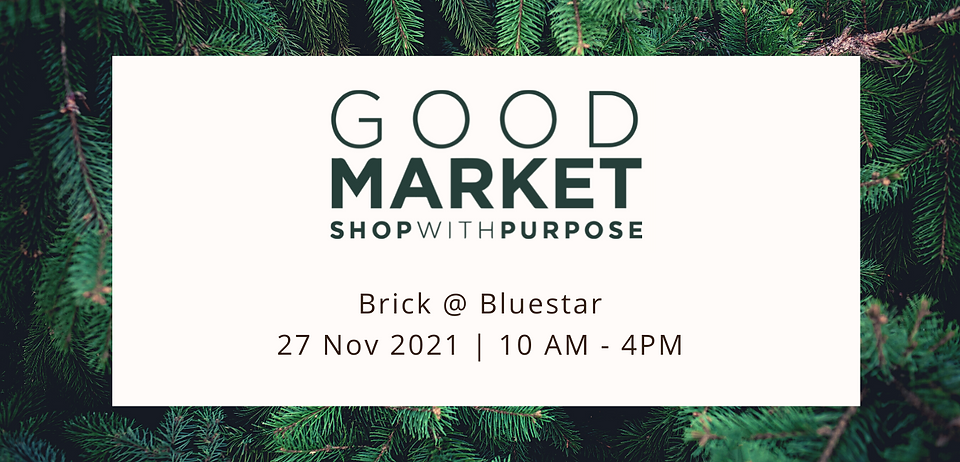 Good Marke Shop With Purpose on top of an image of pine tree needles