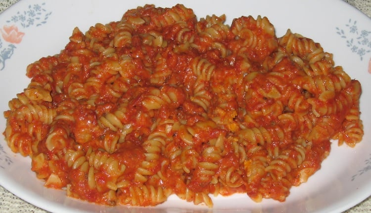 Homemade rotini pasta and amazing meat sauce