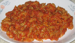 Homemade rotini pasta and amazing meat sauce