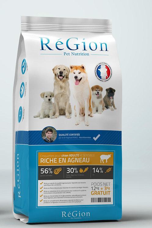 RéGion Adulte et Sensible Riche en Agneau 15kg