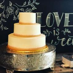 White and Gold Buttercream Wedding Cake
