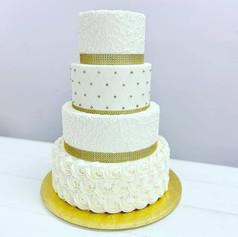 White and Gold Rosette Wedding Cake
