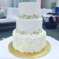 Rosette Bling Wedding Cake