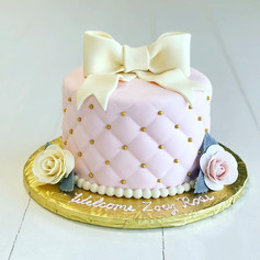 Pink Tufted Baby Shower Cake