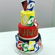 Uno Theme 1st Birthday Cake