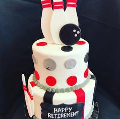 Bowling Retirement Cake