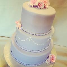 Gray and Blush Wedding Cake