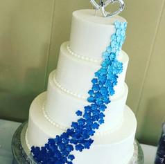 Blue Ombre Flowers Wedding Cake