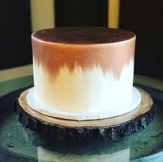 Rose Gold Painted Wedding Cake