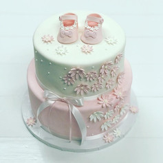Pink Baby Shoes Baby Shower Cake