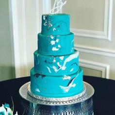 Silver Leaf Marble Wedding Cake