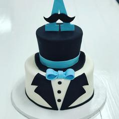 Black and Blue Bowtie Babyshower Cake