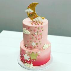 Pink Little Star Baby Shower Cake