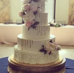 Watercolor Gold Drip Wedding Cake