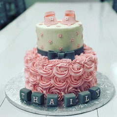 Pink and Gray Baby Shower Cake