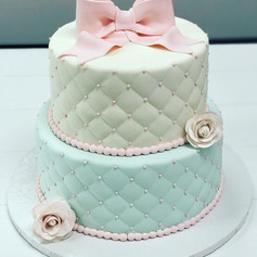 Pink Blue Bow Baby Shower Cake