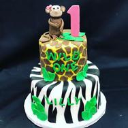 Wild One Jungle Theme 1st Birthday Cake