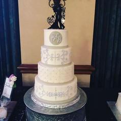Lavender Scroll Wedding Cake