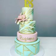 Pink and Aqua Birthday Cake
