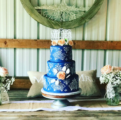 Stenciled Wedding Cake