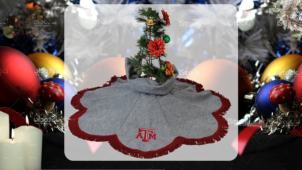 Texas A&M Grey Tree Skirt (Texas A&M Crafter's  License Renewal Pending)