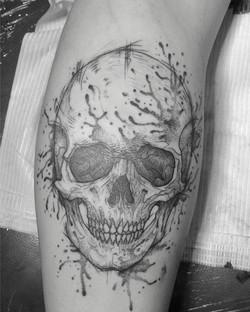 Sketch skull tattoo
