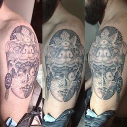 Surreal Aztec tattoo