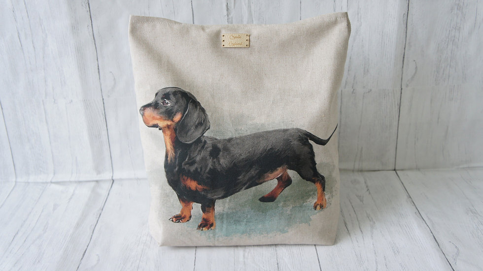 Dachshund Print Tote Strong and Fully Lined Bag 100cm handles and zip pocket