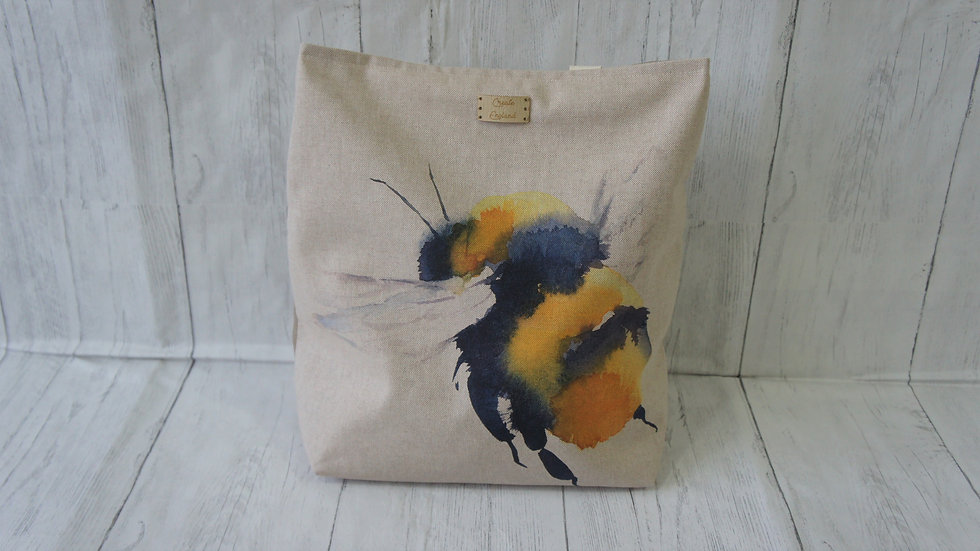 Tote Bag with zip pocket long straps and Bee image to the front