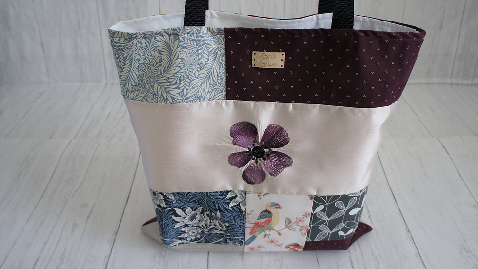 Unique patchwork floral bird shopping bag, fully lined, zip pocket long handles