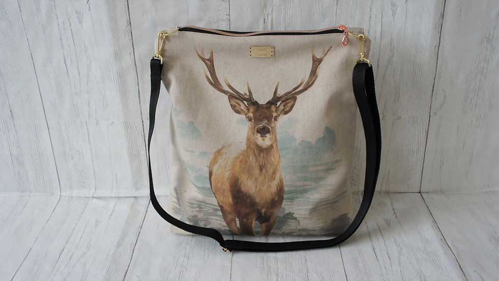 Stag Print zip top Bag. Strong Lined Bag Adjustable Strap Internal Pockets