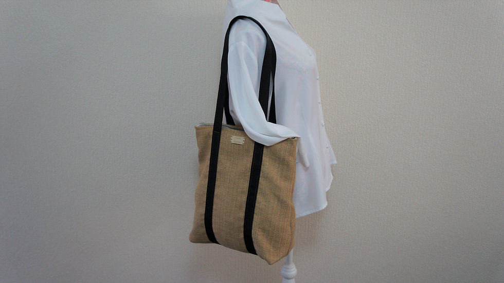 Tote Bag With Full Bag Strap and Internal Zip Pocket. Gold recycled fabric