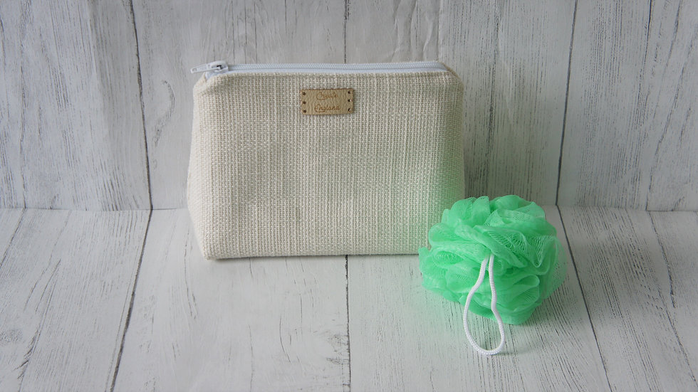 Cream Wash bag with a wipe Clean water resistant white liner