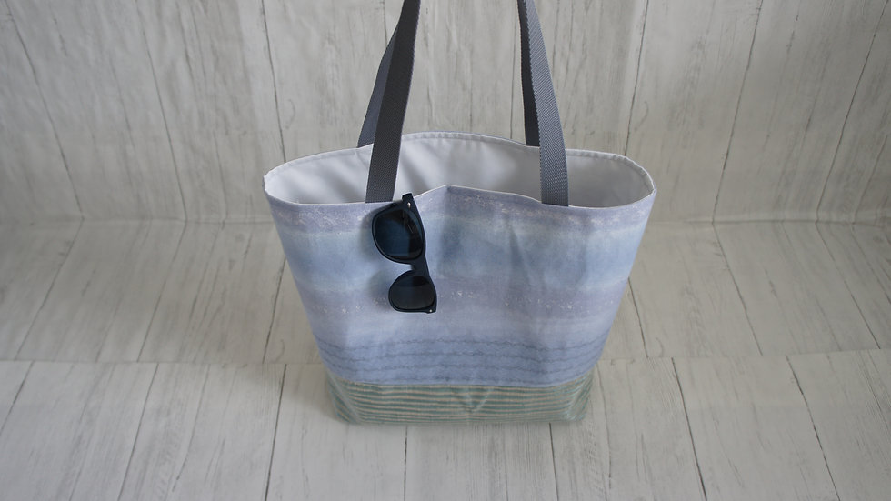 Recycled Fabric Shopping Tote Bag Blue Green Seascape
