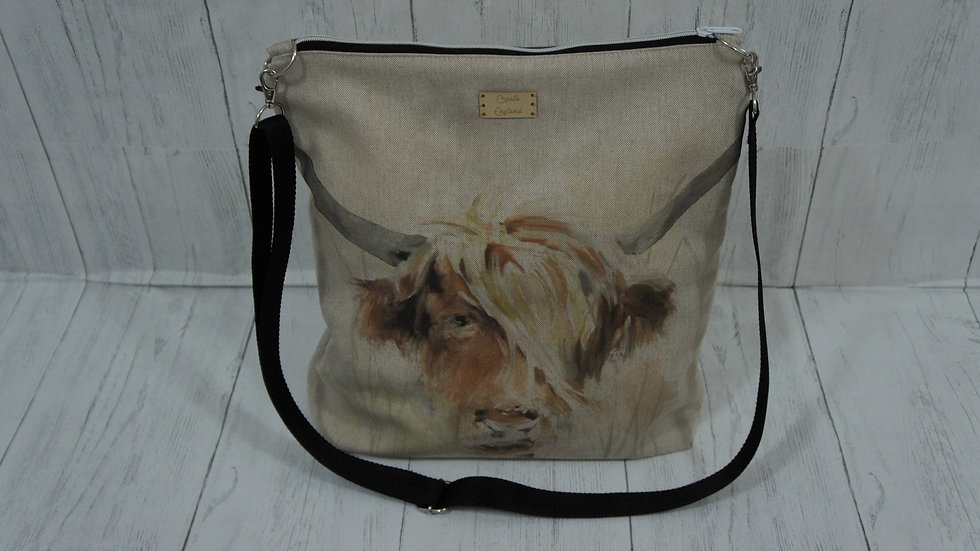Highland Cow Print zip top Bag Strong Lined Adjustable Strap Internal Pockets